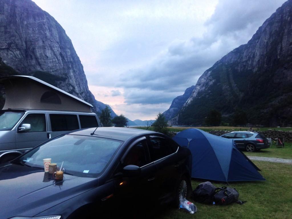 кемпинг lysebotn, палатка норвегия