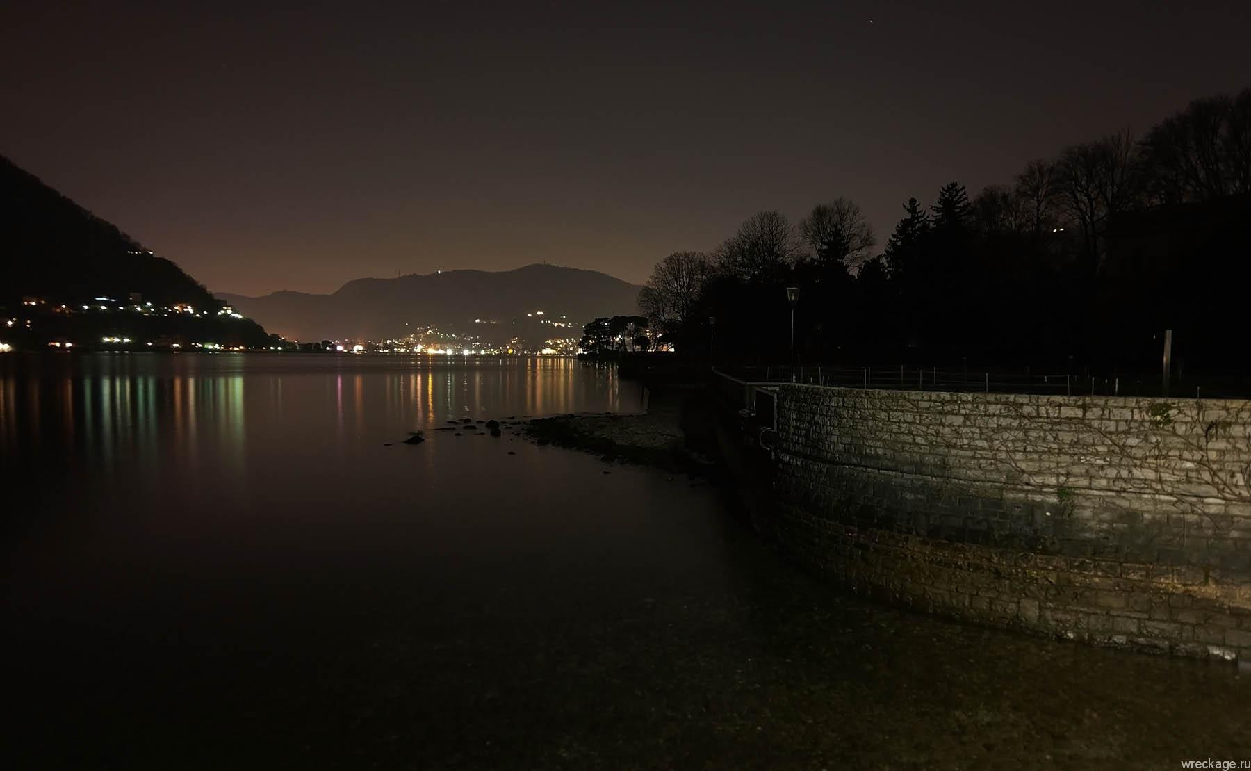 озеро комо ночью италия