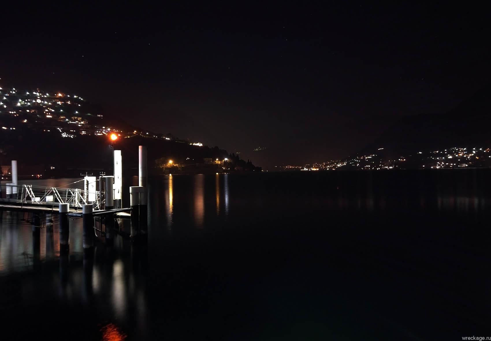 фото на ночное озеро комо