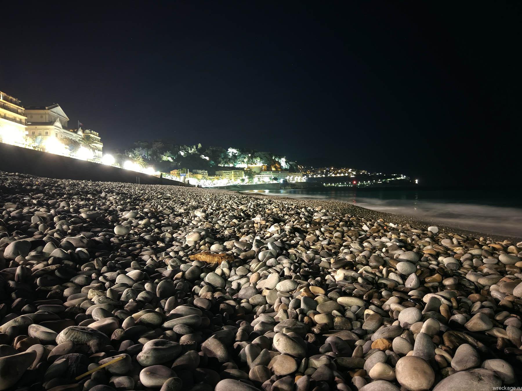 Ницца ночью пляж