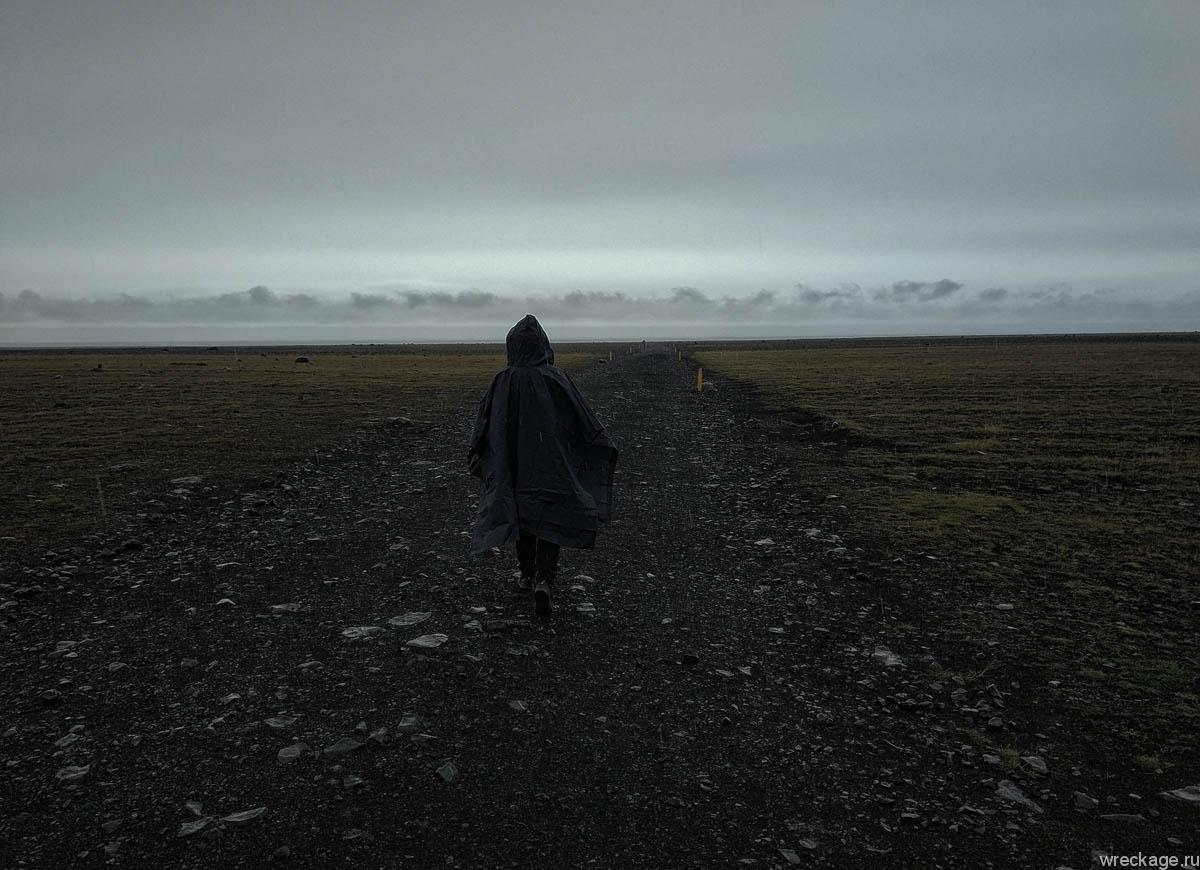 дорога к разбитому самолёту в исландии