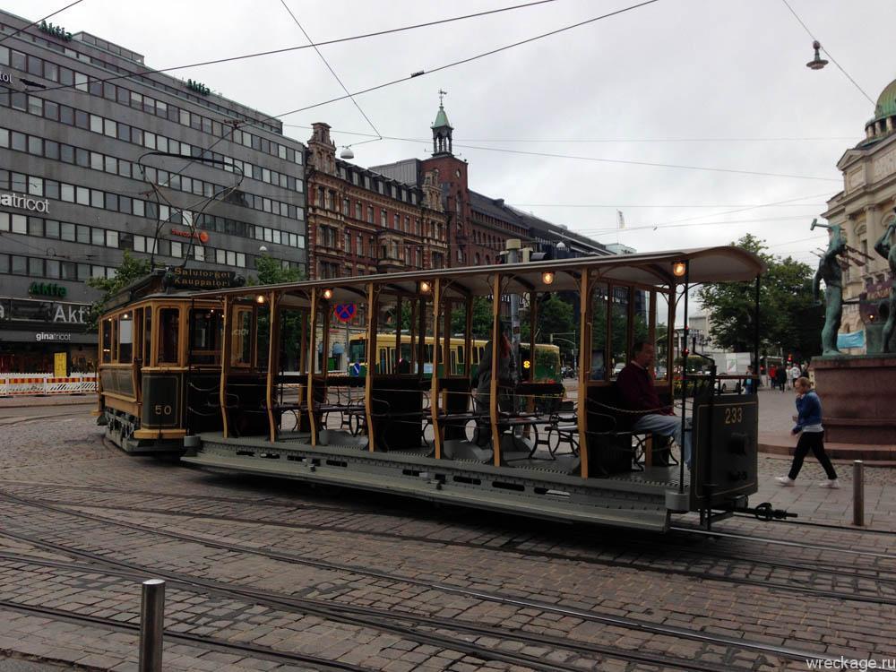 трамвай исторический на улицах хельсинки