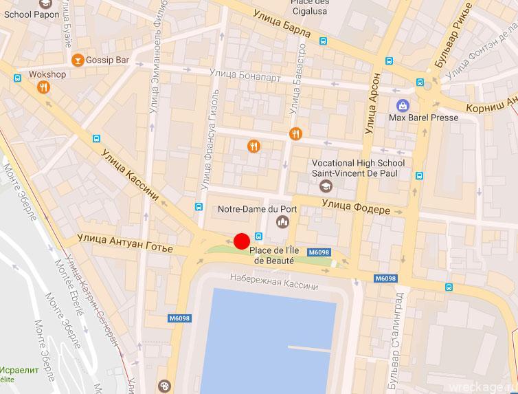 Остановка в Монако на карте