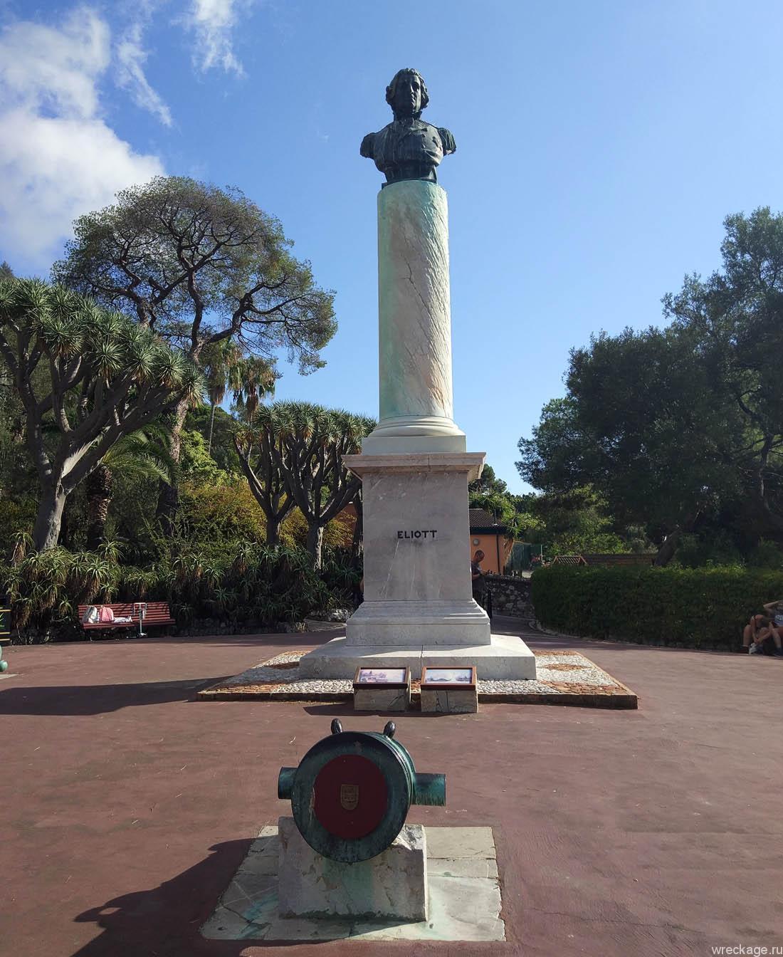 вход в ботанический сад гибралтара бесплатный памятник героя генерала Эллиота.