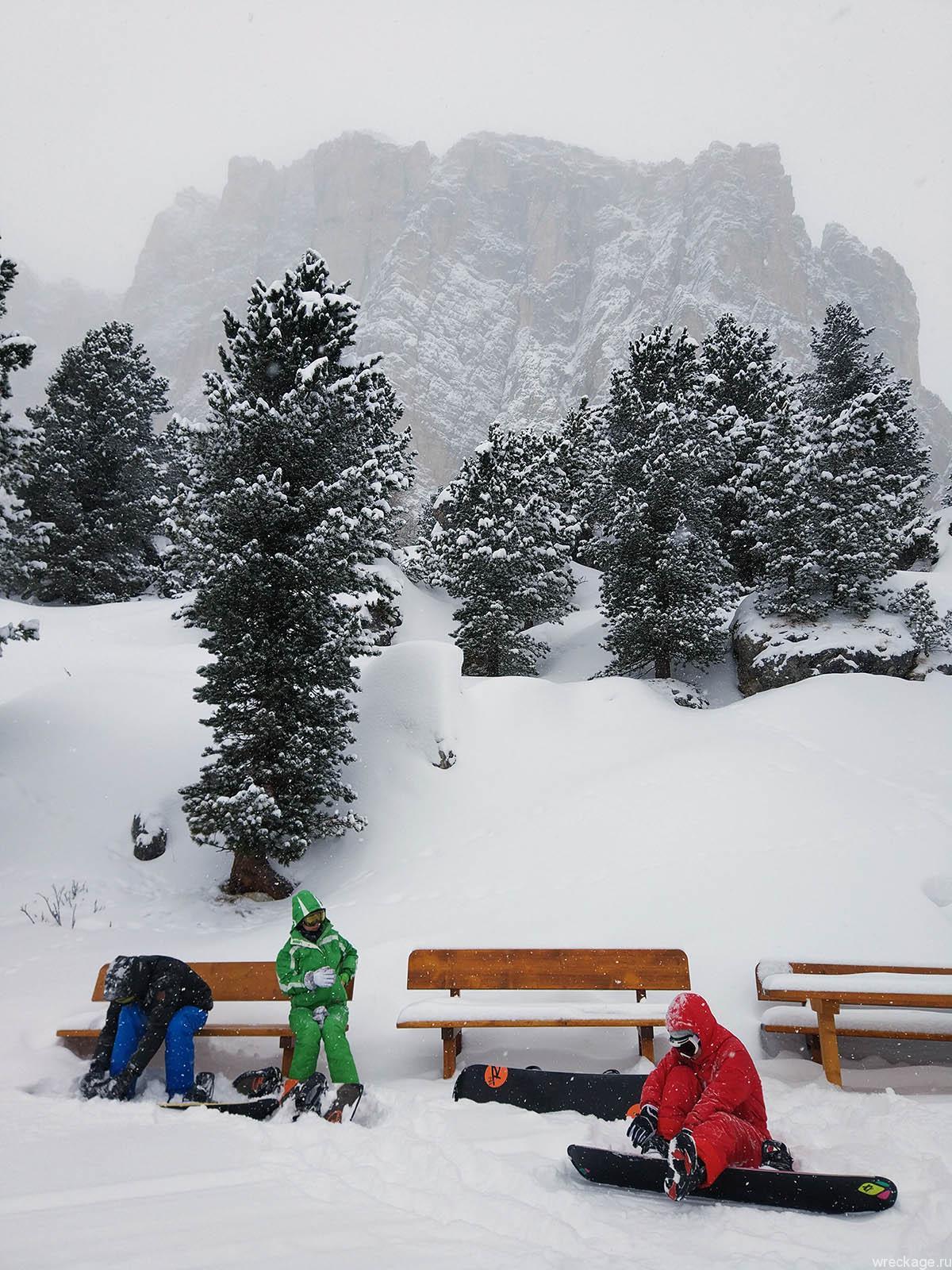 сноуборд в доломитовых альпах