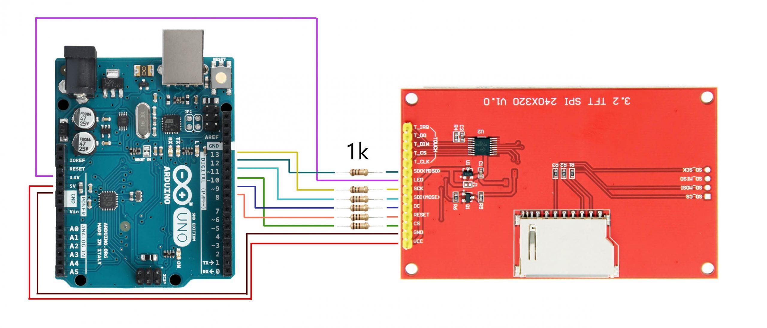 Подключение SPI дисплея ili9341 к Arduino UNO