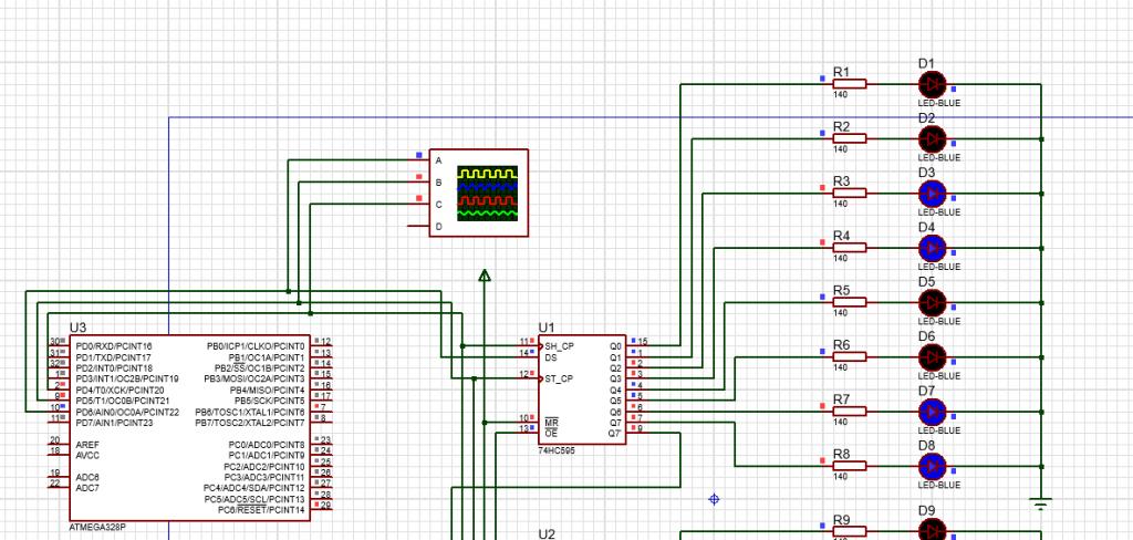 Демонстрация работы сдвигового регистра в Arduino