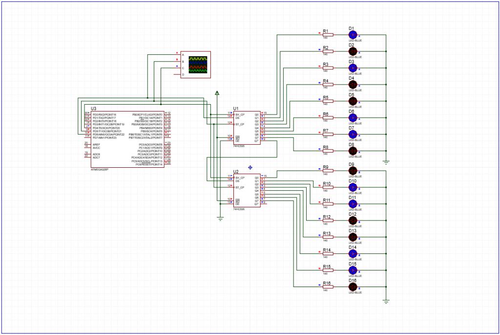 Пример работы сдвиговых регистров на arduino